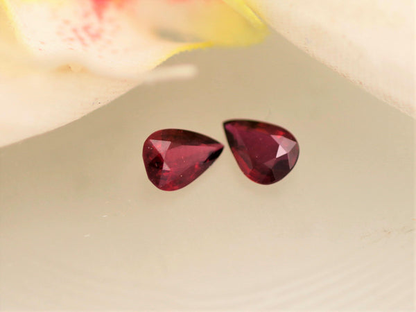 Ruby Matching Pair in Pear Shape 1.54cts Total Weight