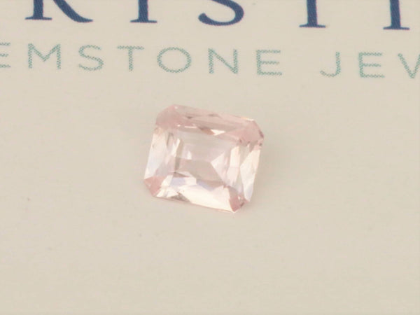 Pink Peach Sapphire 6.3 x 5.6 MM Emerald Cut September Birthstone