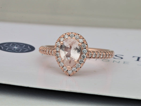 Pear Shape Peach Sapphire Rose Gold Ring 0.90cts Sapphire