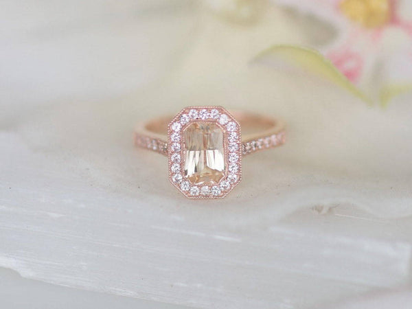 Art Deco Vintage Inspired Rose Gold Ring Mount Main Stone Sold Separately