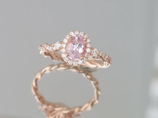 Diamond Halo Rope Inspired Engagement Ring Semi Mount