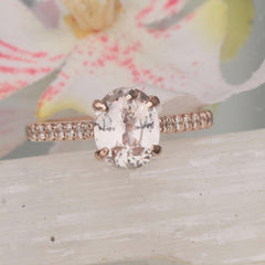 Peach Pink Sapphire Rose Gold Ring