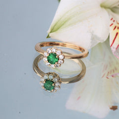 diamond cluster emerald ring