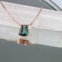 Montana Sapphire 1.09ct Free Form Shape Rose Gold Layering Necklace