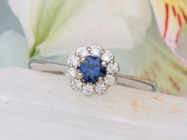 Blue Sapphire Flower Inspired Diamond Cluster Ring