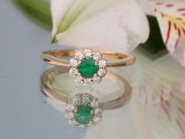 Flower Inspired 4.2mm Emerald and Diamond Cluster Ring