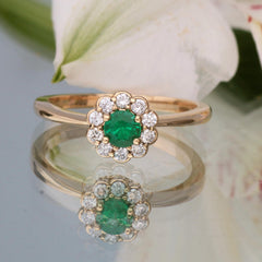 emerald flower ring