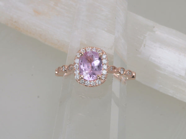Cushion Pink Sapphire Rose Gold Art Deco Ring