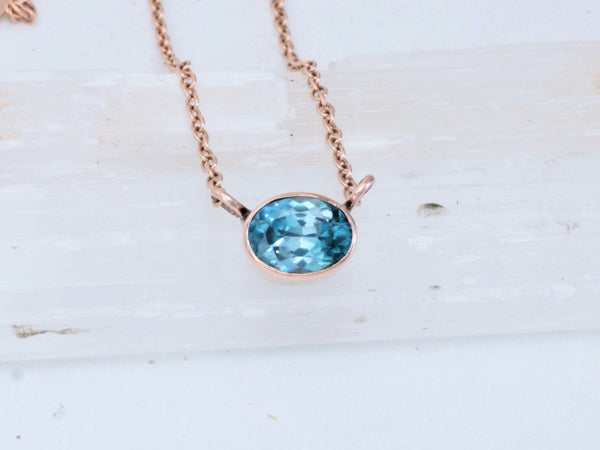 Zircon Rose Gold Layering Necklace with 2.50ct Natural Zircon