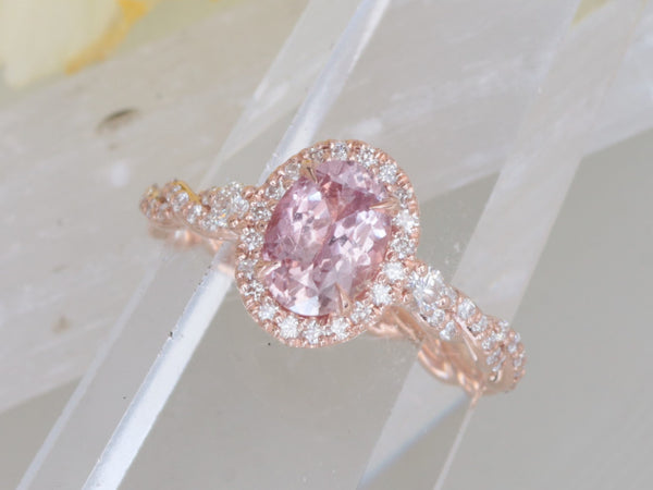 SOLD Padparadscha Color Sapphire Rose Gold Engagement Ring