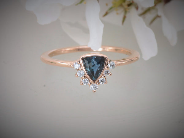 Alexandrite Nesting Ring in 14k Rose Gold.  Triangle Alexandrite.
