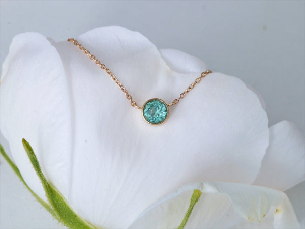 Dainty Green Tourmaline Yellow Gold Necklace