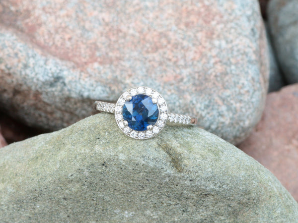 Blue Sapphire Diamond Halo Ring with 1.40ct Sapphire