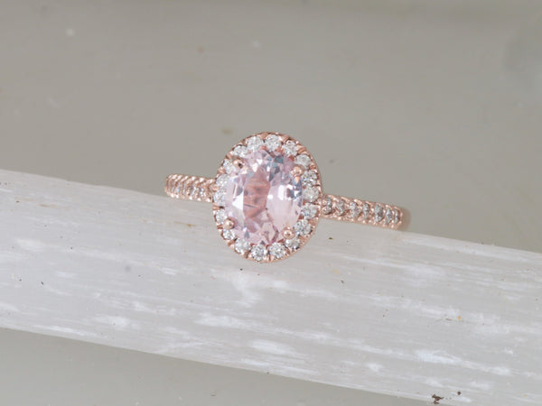 Oval Pink Peach Sapphire Rose Gold Diamond Halo Ring