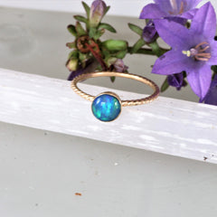 rope design opal stacking ring