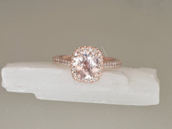 Peach Sapphire Rose Gold Cushion Cut Engagement Ring