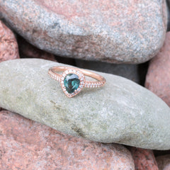 pear shape blue green sapphire ring