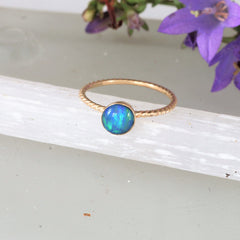 skinny rope opal stacking ring
