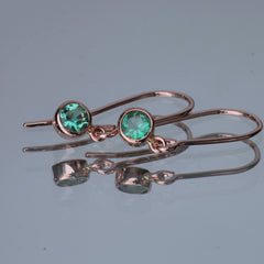 Emerald Rose Gold Dangle Earrings