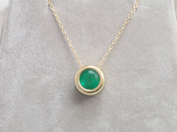 Emerald Gold Layering Necklace with 6.5mm Round Emerald