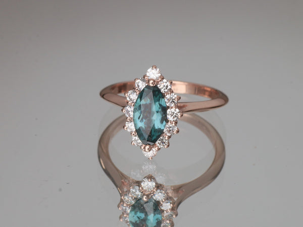 marquis blue green sapphire ring