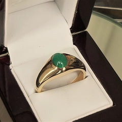 Emerald Cabochon 9x7mm Oval 14k Gold Ring