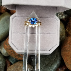 RESERVED Blue Sapphire Bridal Set