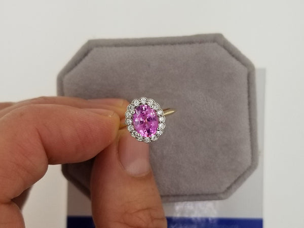 Oval Pink Sapphire Vintage Inspired Ring