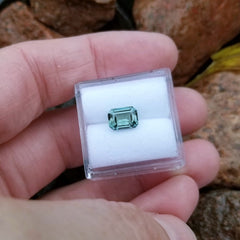Emerald Cut Blue Green Sapphire 7.3 x 5.4mm