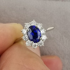 Kate Middleton Style Natural Blue Sapphire Ring