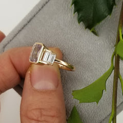 Emerald Cut Pink Sapphire Rose Gold Engagement Ring