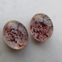 Strawberry Quartz Matching Cabochons Unique Gemstone for Earrings or Fine Jewelry
