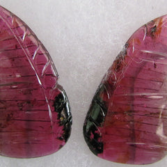 Watermelon Pink Tourmaline Butterfly Wings Bicolor Gemstone Carving Collector Piece October Birthstone