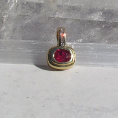 Ruby Pendant SALE in 14k (two tone) Gold and Diamond Setting July Birthstone Gemstone Jewelry