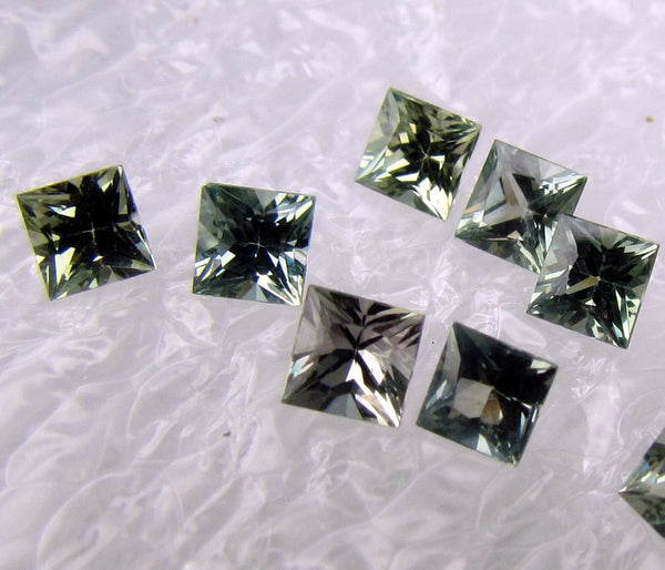 AAA Princess Cut Greenish Blue Sapphires Precision Cut Gemstones OOAK Colour Free Shipping