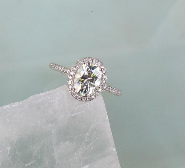Moissanite Engagement Ring In 14k Gold Diamond Halo 7x5 Oval Moissanit