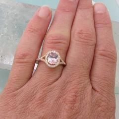 14k Rose Gold Split Shank Diamond Halo Engagement Ring Semi Mount for 7x5 Centre Stone Shape and Size Can Be Modified