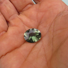 Green Tourmaline 8.13 Carats Oval Shape from Mozambique Loose Gemstone for Fine Jewelry and Engagement Ring