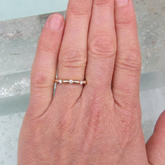 Scalloped 3/4 Eternity Wedding Band Anniversary Band or Stacking Ring in 14k Rose Gold White Gold Yellow Gold