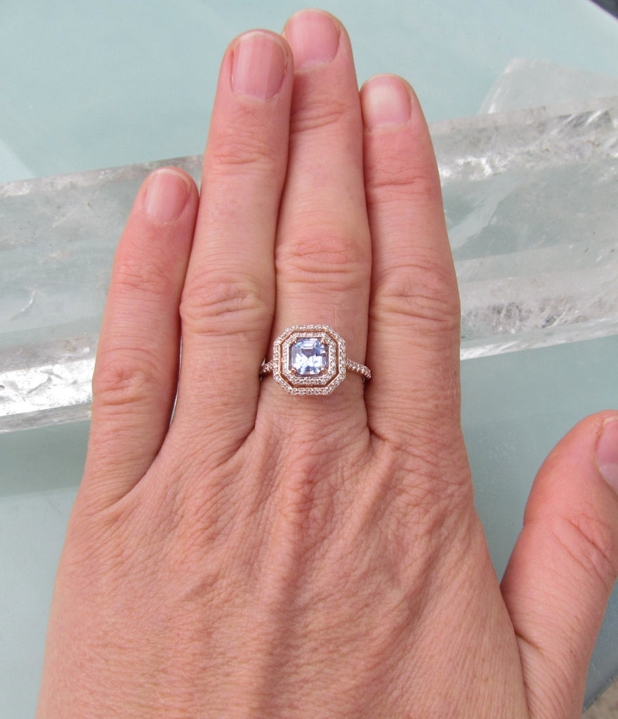 light ice unique sapphire blue ring engagement carat