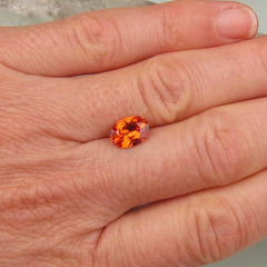 Orange Sapphire Oval Shape Precision Cut September Birthstone Fine Gemstone for Engagement Ring