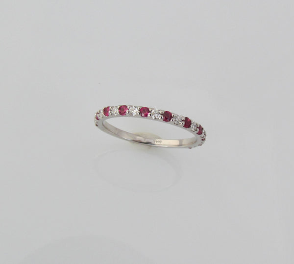 14k White Gold Diamond and Ruby Half Eternity Wedding or Anniversary Band