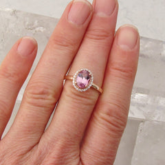 Raspberry Pink Spinel 14k Rose Gold Diamond Halo Gemstone Engagement Ring Wedding Anniversary Sapphire Alternative
