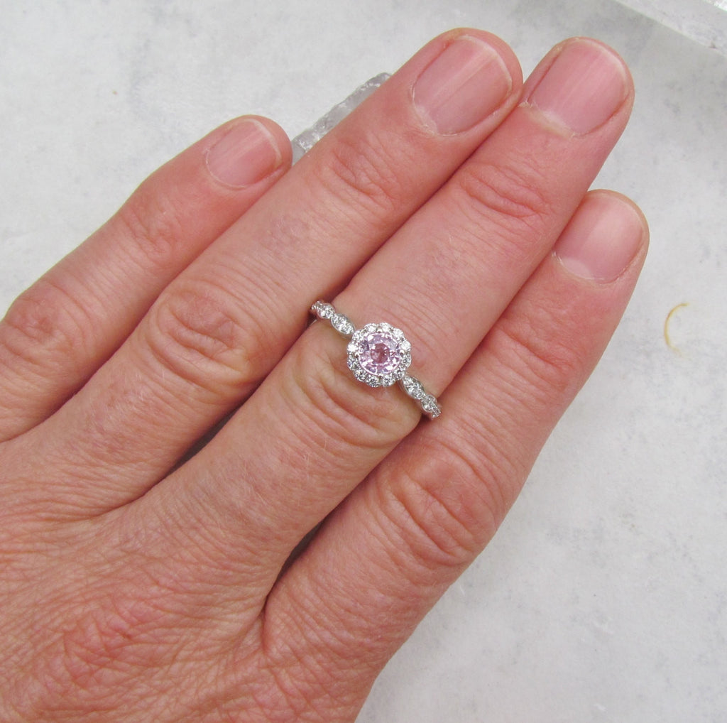 Whisper Pink Sapphire Engagement Ring in 14k White Gold Flower Design