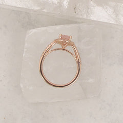 Diamond Halo Engagement Ring Semi Mount in 14k Rose Gold White Gold or Yellow Gold