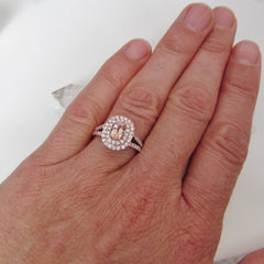 Rose Gold Split Shank Double Diamond Halo Engagement Ring Semi Mount