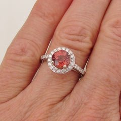 Apricot spinel diamond halo ring