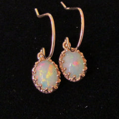 vintage opal dangle earrings in rose gold