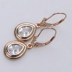pear shape white sapphire rose gold earrings