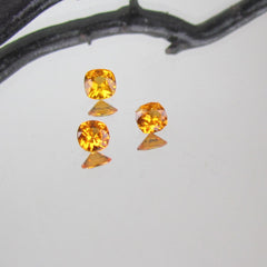 Orange Sapphire Square Cushion Shape Set Fine Orange Golden Gemstone for Engagement Ring